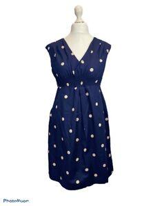 Joules Navy Spot Cotton Sleeveless Shift Dress V Neck Elasticated Front Size 14
