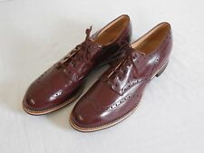 1940's NOS Red Goose Leather Dark Oxblood Wingtip Brogues Marked Size 10 Swing