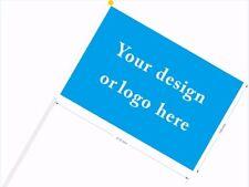 Custom Hand Waving Flag with Pole 14cmx21cm 50pcs/lot logo any design customize