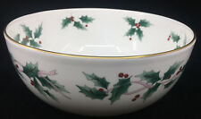 Round Bowl Serving Mikasa Ribbon Holly CAF03 Christmas Centerpiece New in Box