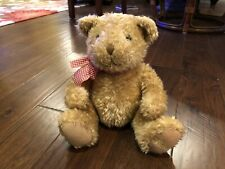 Harrods Teddy Bear With Red Check Ribbon