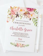 10 PERSONALISED GIRLS CHRISTENING INVITATIONS - PRETTY BOHO PINK FLORAL