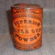 rare antique Superior Rifle Gun Powder tin