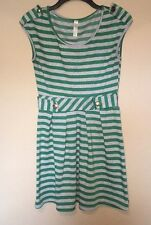 Lovely Day Green Gray Stripe Mini Dress Size Large