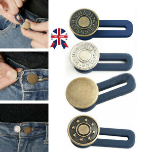 3 Pcs Metal Trouser Jeans Retractable Button Buckle Waist Band Extended UK Stock