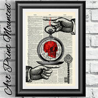 ART PRINT ON ORIGINAL ANTIQUE BOOK PAGE Stag & Poppy Dictionary Vintage Upcycled