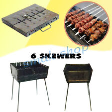 6 SKEWER MANGAL SCHASCHLIK GRILL BRAZIER BARBECUE CHAR GRILL CASE BBQ CHARGRILL