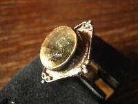sehr schöner Art Deco Ring Citrin gelb 925er Silber Handarbeit Unikat RG 60 19 m