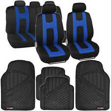 Rome Racing Style Car Seat Cover Black/Blue + All Weather Floor Mat 13 PC