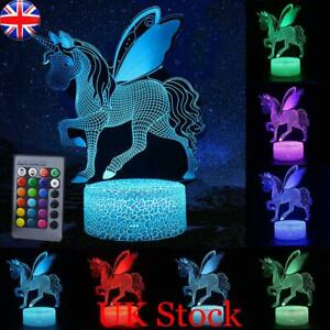 Chirstmas 3D Unicorn LED Night Lights Table Lamp Remote Control Desk Lamp Gifts
