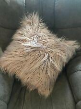 "Cynthia Rowley Boho Purple Gray Shaggy Furry Throw Bed Pillow Square 20""x20"""