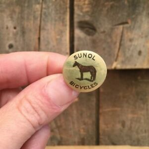 Antique 1890s / 1900s Bicycle Stud Button Pin SUNOL BICYCLES Horse Graphic