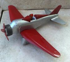 Vintage 1930's Marx Pressed Steel Airplane Toy w/ Lithographed Pilot, Rare