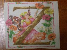 Vintage FAIRY LETTER 'Z' Fabric Panel (18cm x 15cm)