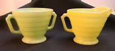 Hazel Atlas Modern Tone 2 Cream Sugar Sets Custard Set- Chartreuse & Jadeite Set
