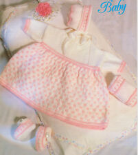 "Pretty  Baby Dress Set with Muff, Bonnet & Dinky Shoes To Knit in DK  16"" - 22"""