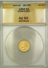 1855 Indian Princess Type 2 $1 Gold Coin ANACS AU-50 Details Scratched