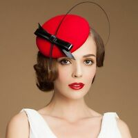Handmade Women Bow Wool Felt Fascinator Tilt Pillbox Cocktail Hat Party A144