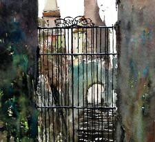 Landscape Painting Watercolor Original Illustration Countryside Castle  12x11
