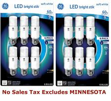 Lot of 2 Packs GE LED Bright Stik Light Bulb (Replace 60W) 800 Lumens 120Volt 9W