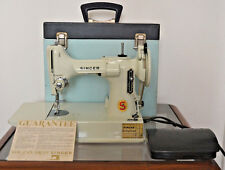 Blue White SINGER 221K  FEATHERWEIGHT SEWING MACHINE Blue on Blue Case 1968 69