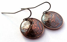 Cayman Islands Coin Earrings Bird Design Copper Colored Jewelry Woman Gift