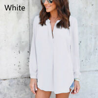 Women Long Sleeve Chiffon Blouse Summer Casual Loose V Neck Shirt Lady Top White