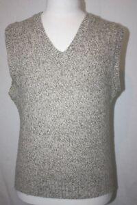VTG LL Bean Heather Beige Wool Blend Pullover V Neck Sweater Vest 42 In. Chest