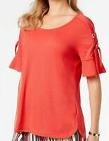 JM Collection Womens Top Red Lace Up Ruffle Sleeve Tops, Size XXL