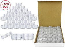 100 Pieces 3 Gram/3ml Plastic Round Clear Sample Jar Containers with Clear Lids