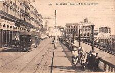 Africa postcard Alger Algeria Boulevard de la Republique street scene trolley