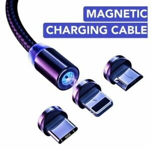 3 in 1 Magnetic USB Type C 8-Pin Charger Charging Cable for Phone iPhone