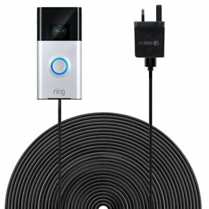 6m/19.6ft Cord Power Cable with Adapter for Ring Video Doorbell UK/EU Plug