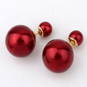 Women's Trendy Candy Color Ball Double Sided Ear Studs Chic Pin Bubble Earrings