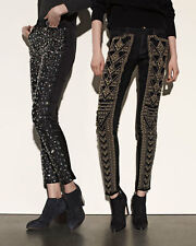 7 For All Mankind Women's Jeans Black Gold Studded Super Skinny Mid Rise size 26