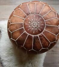 SALE! Moroccan Genuine Leather Boho Pouf Ottoman Footstool Pouffe Brown Tan