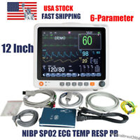 "Portable 12"" Touch Screen Patient Monitor Vital Signs ECG NIBP RESP TEMP SPO2 PR"