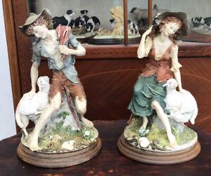 """A Pair Of Rare Capodimonte Giuseppe Armani Shepherd & Shepherdess. 11.5"""" Tall"""