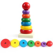 Children Toy Montessori Wooden Stacking Rings Rainbow Tower