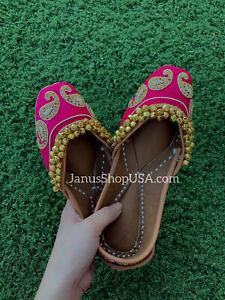 US Size 5-8 Punjabi jutti Indian khussa flat shoes Womens shoes mojari PINK