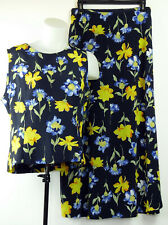 Coldwater Creek Navy Blue & Yellow Floral Print 2 Piece Skirt Set M Made in Usa