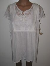 One World Women's XL, 1x White Crocheted Lace Top w Tie in Front, Bust 50 inches