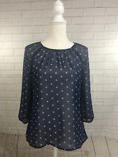 Old Navy Womens Blouse Navy Blue Top 3/4 Sleeves Diamond Print Sheer Size Medium