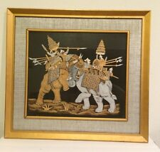 Indian Painting Print Elephant Fighing Gold Black Gray Framed Art