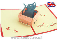 Cats in A Box 3D Pop Up Greeting Handmade Kirigami Cards Birthday Cards