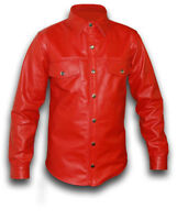 Real Sheep or Cow Red Leather Police Uniform Mens Hot Genuine Shirt BLUF Gay