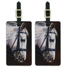 White Horse Reins Tack Harness Luggage ID Tags Cards Set of 2