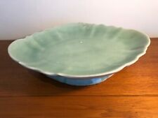 Antique Chinese Longquan Celadon Porcelain Large Footed Fluted Dish Bowl Charger
