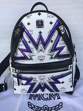 $1150 Authentic MCM White Visetos Dual Stark Cyber Flash Backpack Small