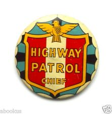VINTAGE Highway Patrol Chief Big Badge Rare Flat Style 1950s Toy Police Costume